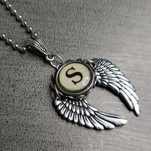 """Jewelry - Alphabet/initial """"S"""" Typewrite Charm wing Necklace"""